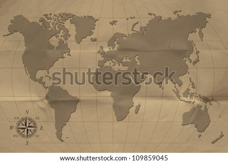 An old map of the world. Vector illustration. Eps10 - stock vector