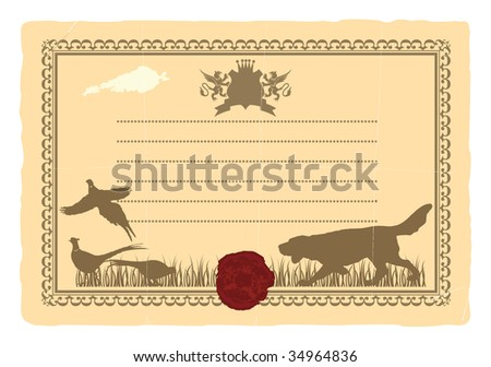 An old postcard with the coat of arms and seal. - stock vector