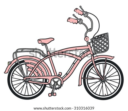 An old style girls bicycle/Pink bicycle - stock vector