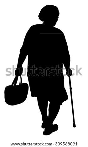 old woman walking baton stock vector 309568091 - shutterstock