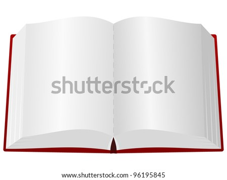 An open book in the red cover - stock vector