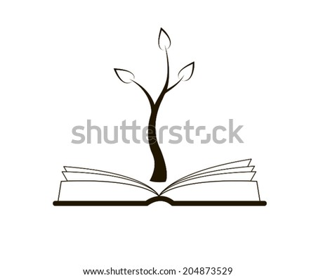 An open book with a growing tree above it, black and white - stock vector