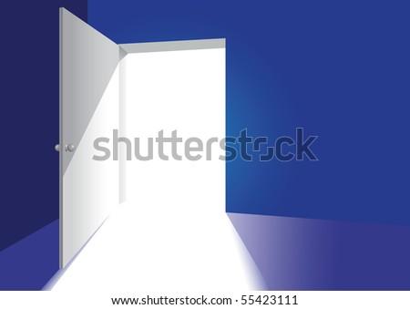 an open door in a blue room - stock vector
