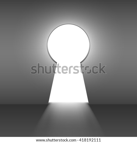 An opening in a wall in the shape of a keyhole - stock vector