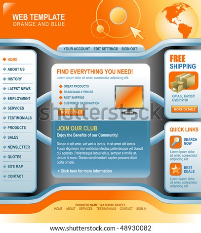 An orange and blue computer internet technology template with navigation menu buttons, a header and interface to make your own. Use it for your store business. - stock vector