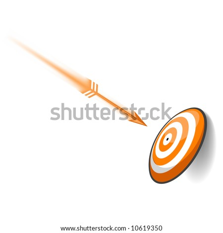 An orange dart speeding toward its target. Meant to be a concept in goal planning. - stock vector