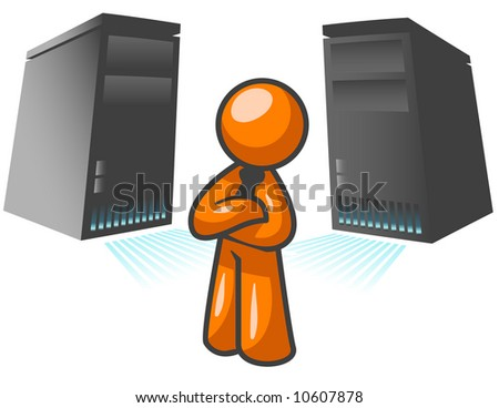 An orange man standing confident in front of two large computer servers. - stock vector