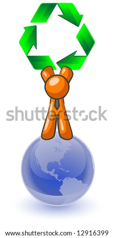 An orange man standing on top of the earth holding a large recycling symbol. Good concept for environmental earth preservation. - stock vector