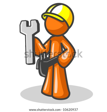 An orange man with a hard hat and wrench, good symbol for website construction, or even real construction! - stock vector