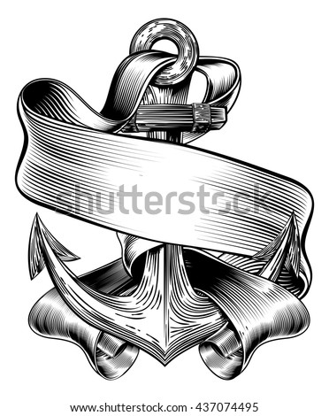 An original  illustration of a ships anchor and scroll banner in a vintage woodcut woodblock style - stock vector