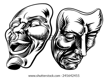 An original illustration of Theater Masks, comedy and tragedy, in a vintage style