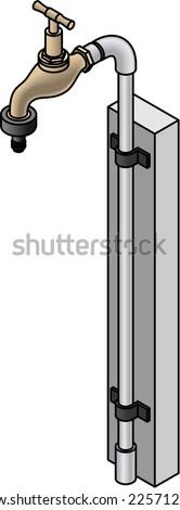 An outdoor brass tap / faucet with a garden hose adaptor. - stock vector