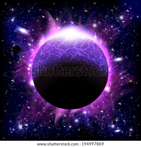 An outer space background with a burning planet, sky and stars. Layered. - stock vector