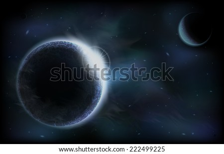 An outer space background with dark planets, sky and stars. Layered. - stock vector