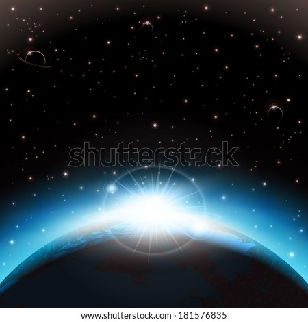 An outer space background with planets, sky and stars. Layered.