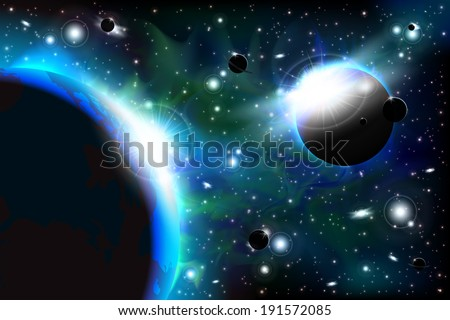 An outer space background with sky and stars. Layered. - stock vector