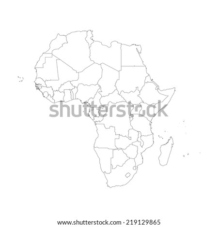 An Outline on clean background of the continent of Africa - stock vector