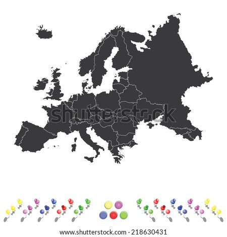 An Outline on clean background of the continent of Europe - stock vector