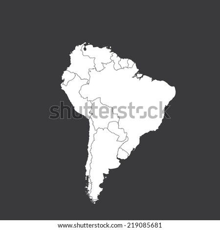 An Outline on clean background of the continent of South America - stock vector
