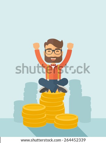 An overjoyed young hipster Caucasian man with beard sitting on the top of  coins. Raising his two hands to show that he is a winner. Happy, winner concept. A contemporary style with pastel palette - stock vector
