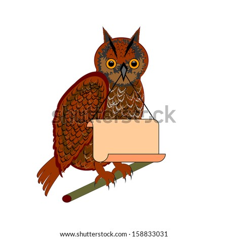 An owl holding a big blank paper in his beak. Vector-art illustration - stock vector