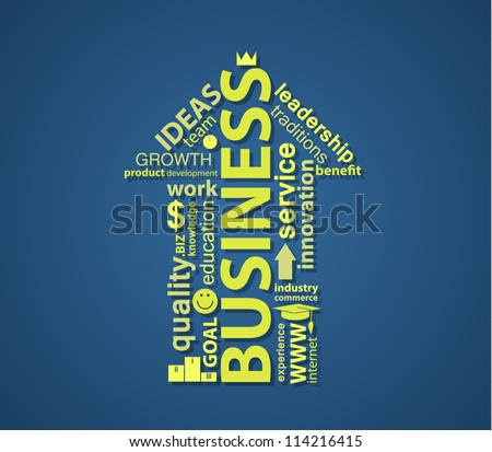 An UP arrow formed by words on business topic. EPS10 typographic vector. - stock vector