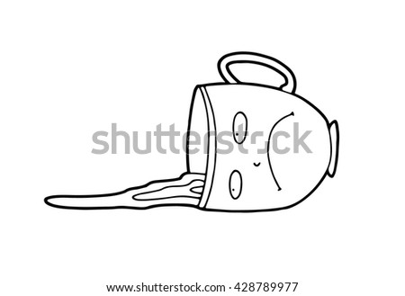 An Upset Sad Pessimistic Cartoon Cup Which Accidentally Was Pushed By Awkward Guest During A