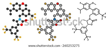 Anacetrapib hypercholesterolemia drug molecule. CETP (cholesterylester transfer protein) inhibitor for the treatment of elevated cholesterol levels. Stylized 2D renderings and skeletal formula.
