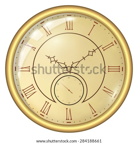 Analog Clock Isolated on a White Background. Vector Clock with Roman Numerals - stock vector