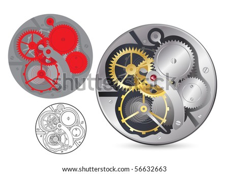 Analog clock mechanism. Realistic, plain and outline vector image. - stock vector