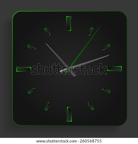 Analog clock with green neon lights on a black background.