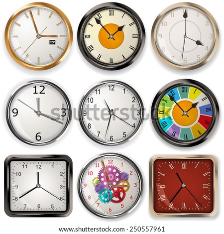 analog clocks, rounded and squared, realistic vector illustration - stock vector