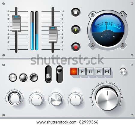 Analog controls interface elements set, vector - stock vector