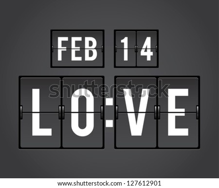 Analog mechanical countdown flip panel for Valentine's Day - stock vector