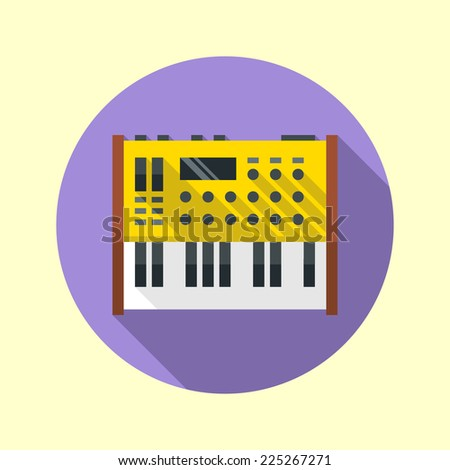 Analog synthesizer icon. Flat design long shadow. Vector illustration. - stock vector