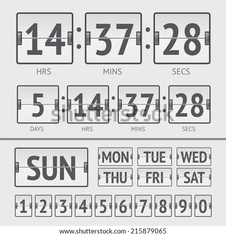 Analog white scoreboard digital week timer. Vector illustration