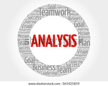 Analysis circle word cloud, business concept - stock vector
