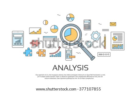 Analysis Concept Finance Diagram Infographic Magnifying Glass Set Thin Line Collection Vector Illustration - stock vector