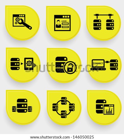 Analysis, Database system icons on yellow buttons,vector - stock vector