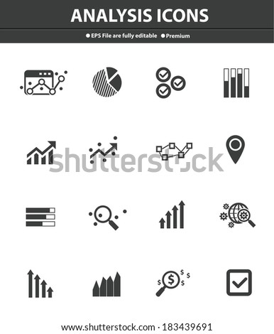 Analysis icons on white background,Black version - stock vector