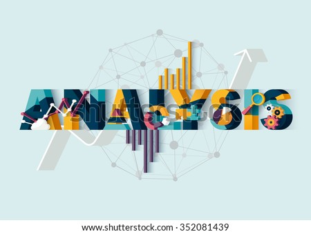 Analysis of information.Typographic poster. - stock vector