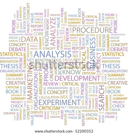 ANALYSIS. Seamless vector pattern with word cloud. - stock vector