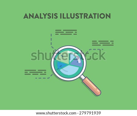 Analysis vector illustration of magnifying glass on a green background with round chart diagram under it - stock vector
