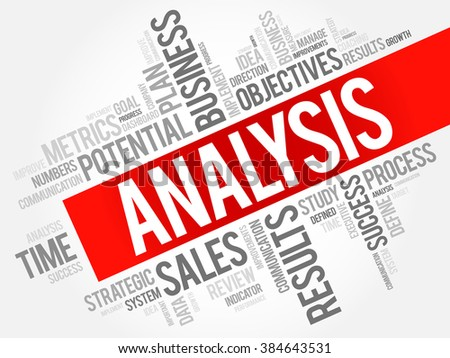 Analysis word cloud, business concept background - stock vector