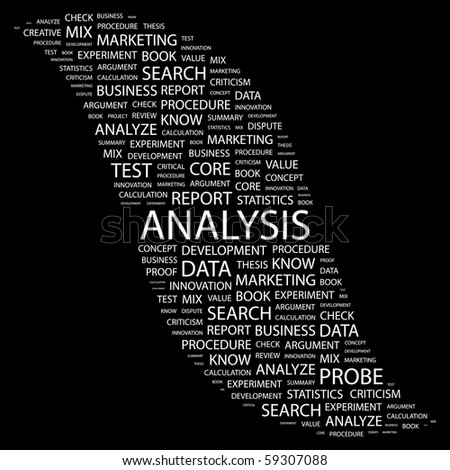 ANALYSIS. Word collage on black background. Illustration with different association terms. - stock vector
