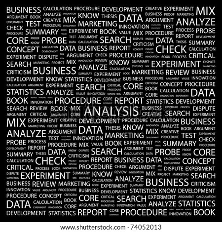 ANALYSIS. Word collage on black background. Vector illustration. Illustration with different association terms. - stock vector