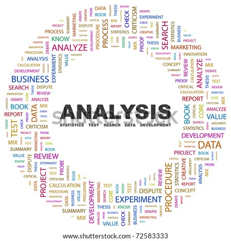 ANALYSIS. Word collage on white background. Vector illustration. Illustration with different association terms. - stock vector