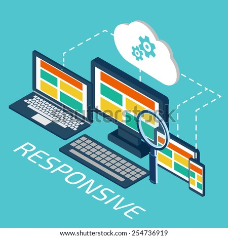 Analytics and programming vector. Web application optimization. Responsive pc. Cloud technology - stock vector