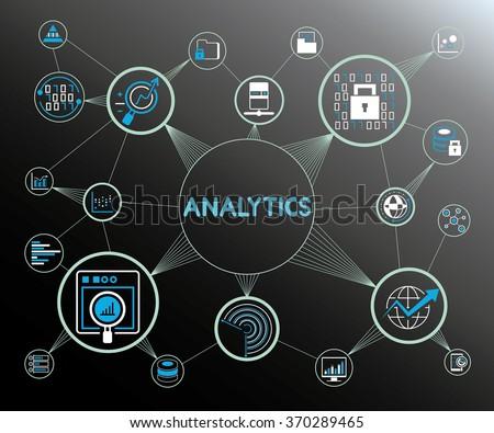 analytics concept, analytics network icons - stock vector