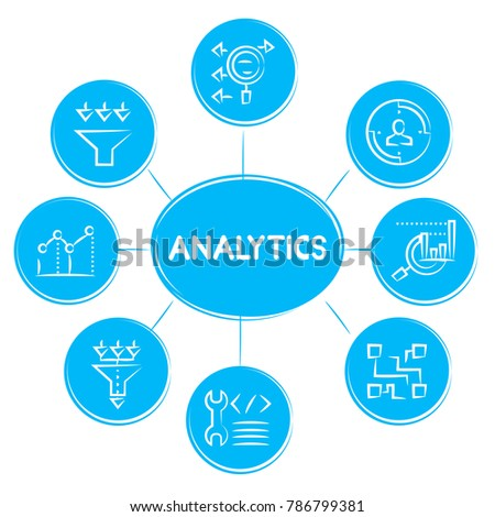 Engineering construction tool icons circle diagram stock vector analytics concept icons in blue diagram ccuart Image collections